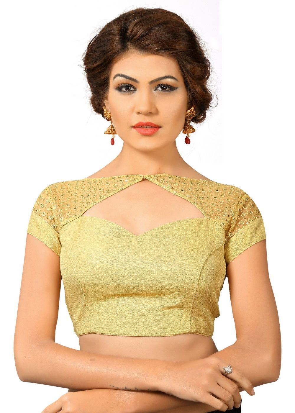 Gold Net Fancy Back Open Saree Blouse Choli SNT-X-402-GOLD | Pinterest