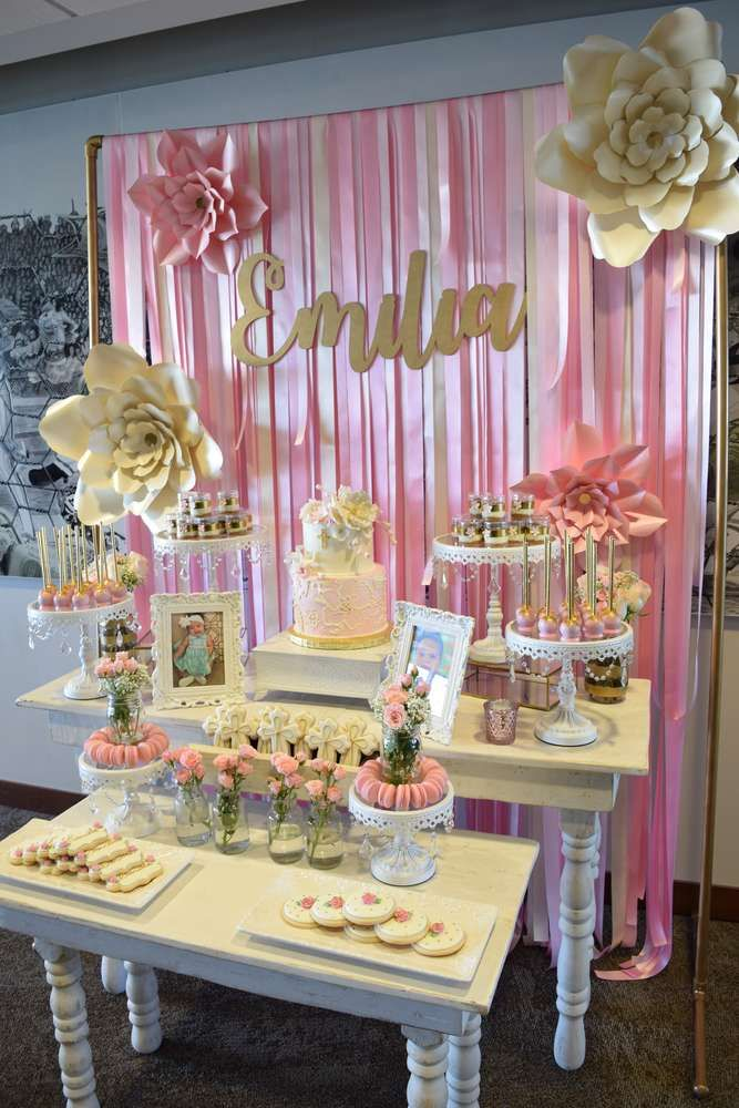 Baptism Party Ideas  Photo 10 of 1010  Girl christening decorations