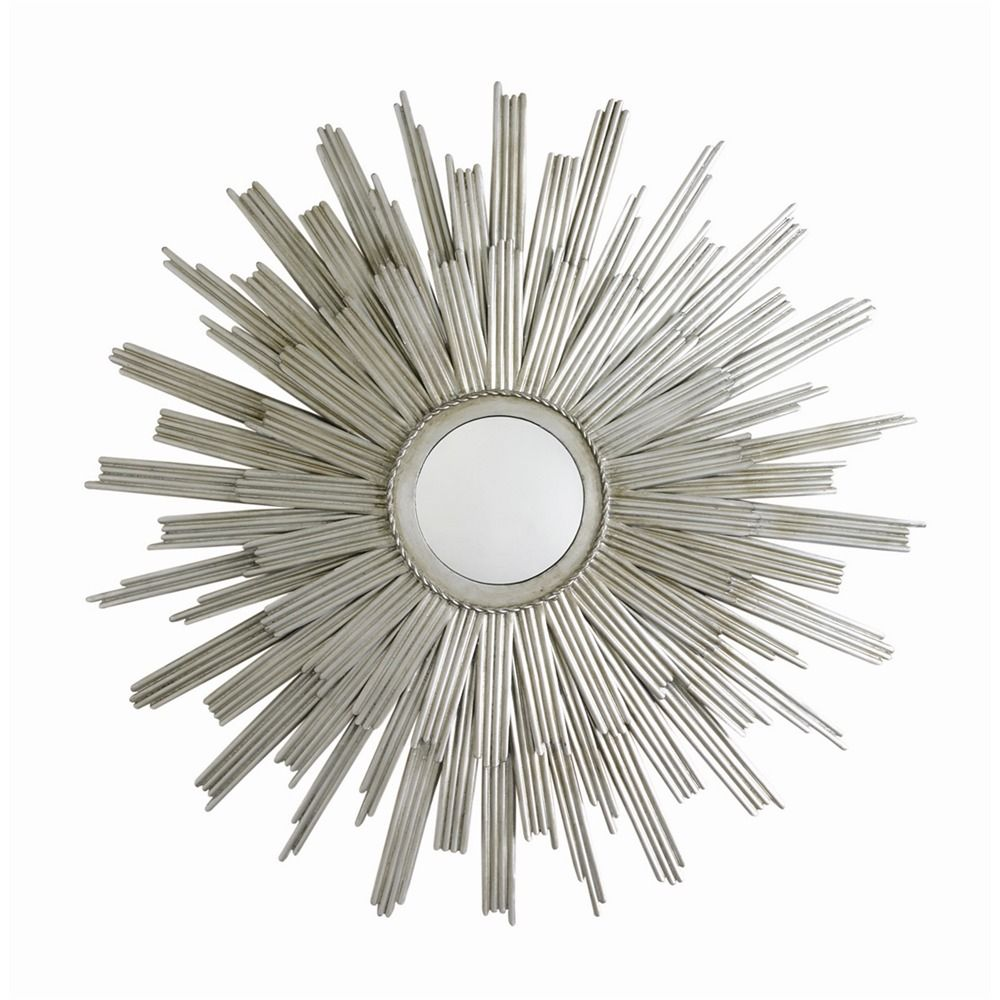 Wire capiz sunburst wall mirror - Off Galaxy Silver Leaf Star Iron Wall Mirror By Arteriors Home Round Sunburst Inspired Wall Mirror Features Double Layer Of Vertical Iron Rays In A