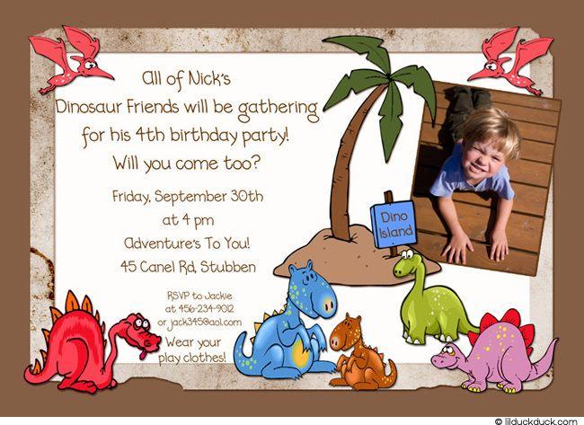 dinosaur party invitations Cute Colorful Dinosaur Birthday Party