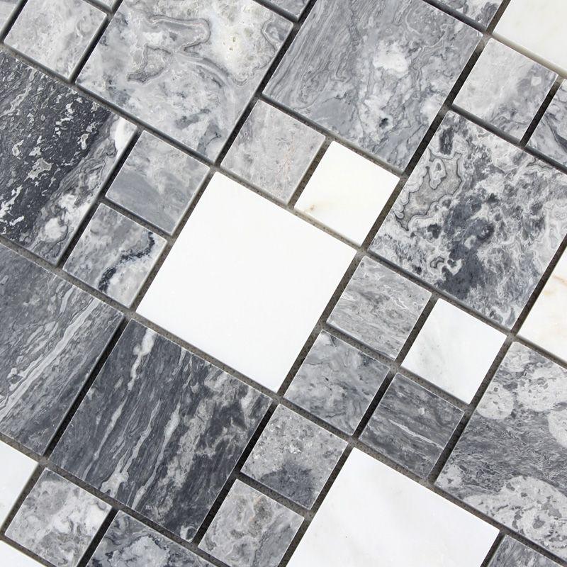 grey marble glass mosaic tile wall stickers t046 kitchen ideas rh pinterest com