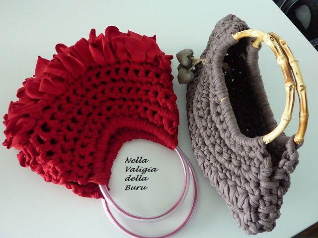 Nella valigia della Buru: RACCOLTA DI TUTORIAL E SCHEMI FREE PER BORSETTE IN FETTUCCIA REALIZZATE ALL'UNCINETTO - Crochet bags - Free pattern and tutorial