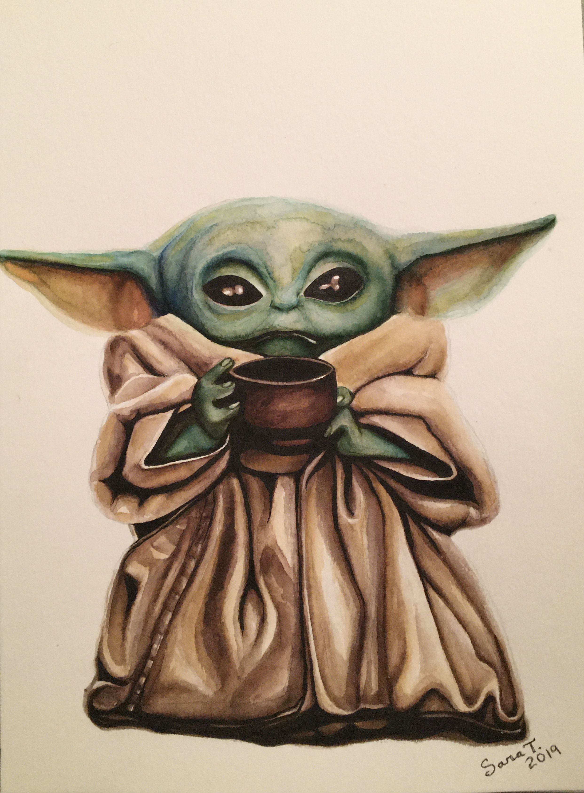 Baby Yoda Yoda Art Art Watercolor Paintings Tutorials