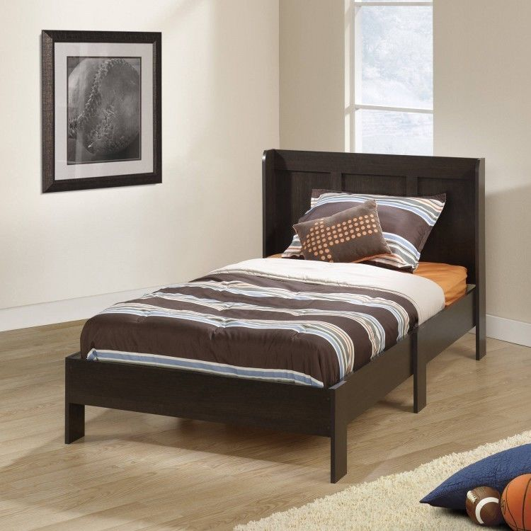 Wooden Frame Twin Size Bed Headboard Set