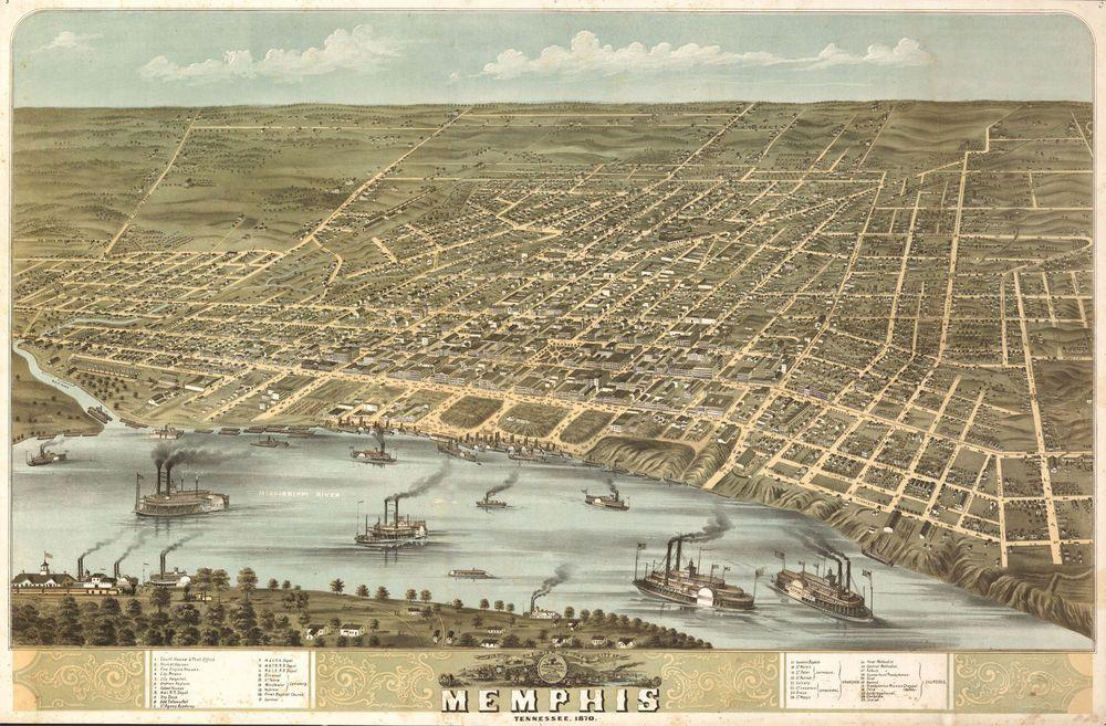 1870 Memphis Tennessee Map Art antique decor