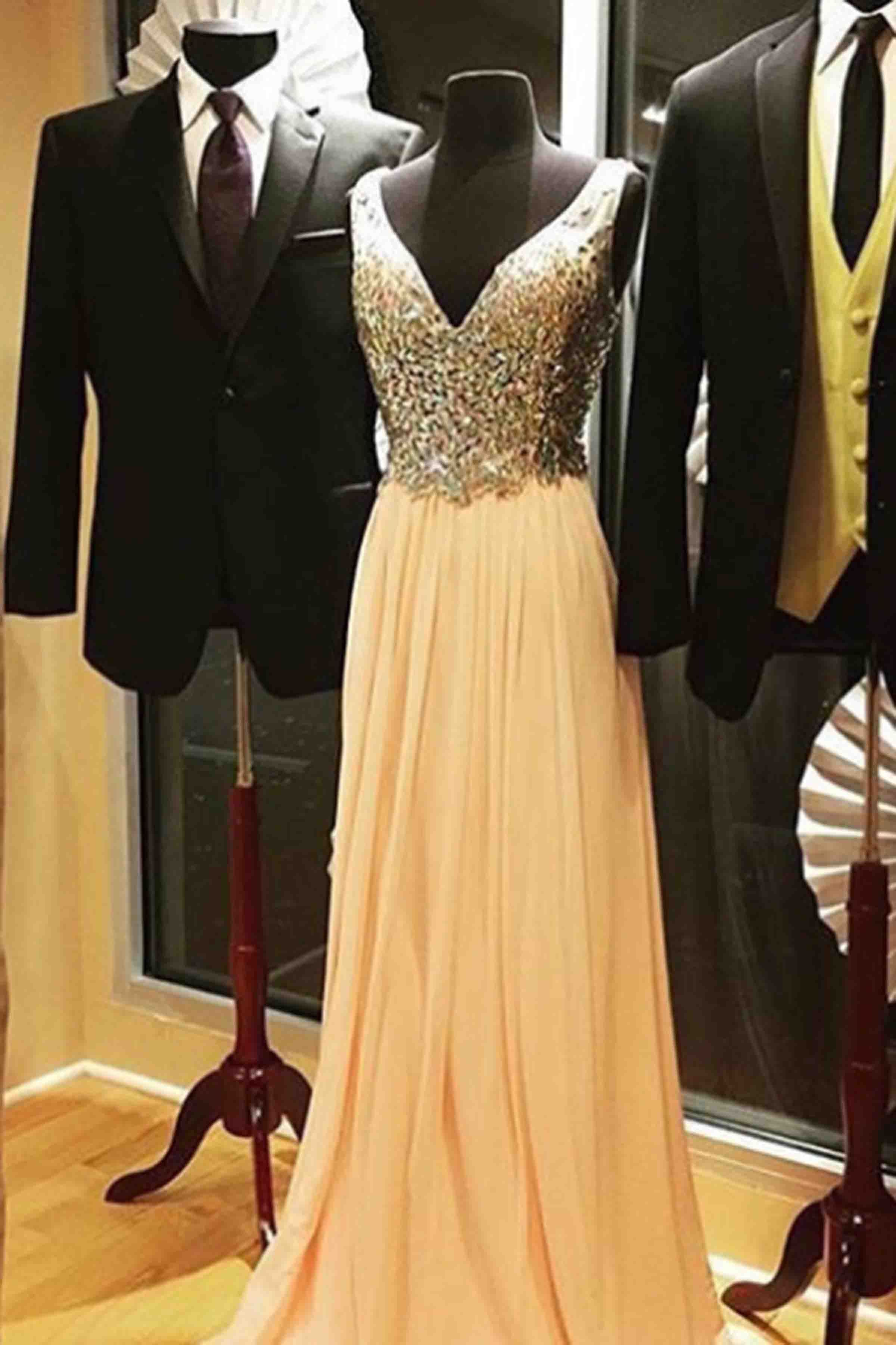 Beaded yellow chiffon prom dress vneck prom dress ball gown