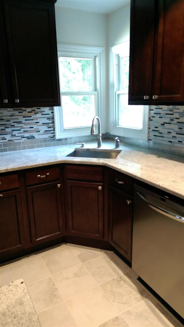 This Kitchen In Teaneck Nj Was Gutted Down To The Studs Two New Windows Were Installed And Major Repairs Were Made T Kitchen Renovation Wood Cabinets Kitchen