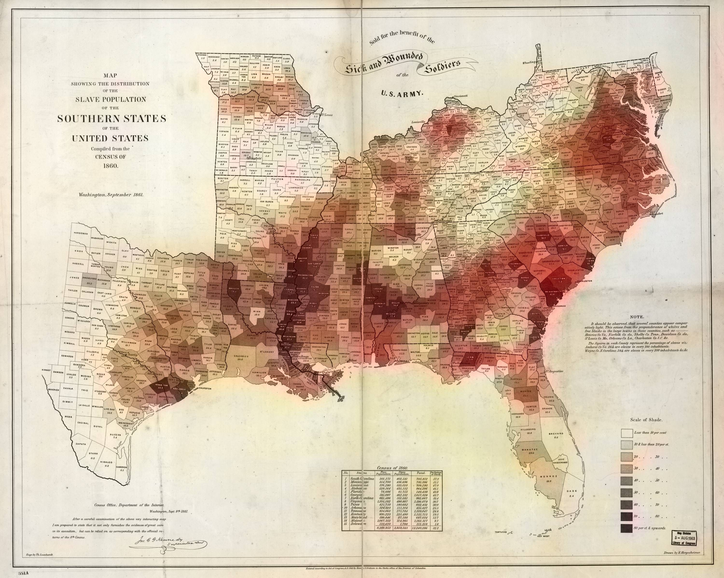Map showing the Slave Population of Southern