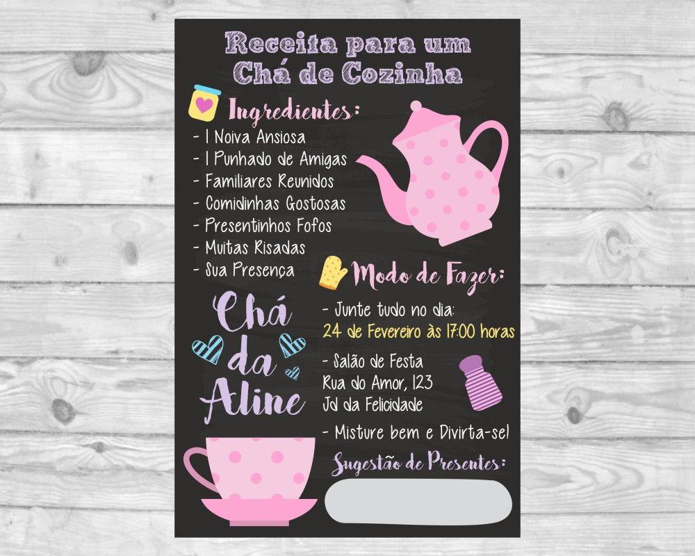 Convite Ch De Panela X Cara Rosa Impresso Pinterest Convite Ch