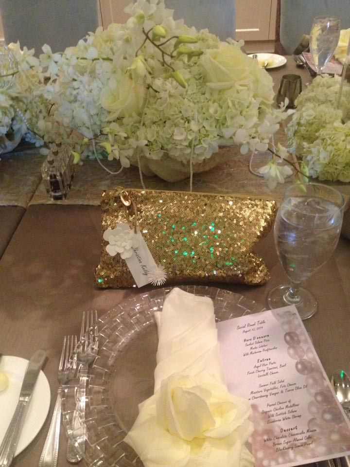 This Royal Table Featured a floor length Antique Bronze Shantung linen accented with a French Sheer Champagne Table Runner from @ChateauAliceDesigns. #CorporateEventLinens #EventRentals