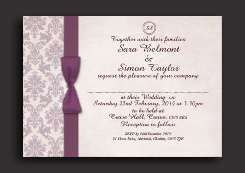 AUBERGINE/PLUM DAMASK PERSONALISED WEDDING AND/OR EVENING INVITATIONS - U in Home, Furniture & DIY, Wedding Supplies, Cards & Invitations | eBay