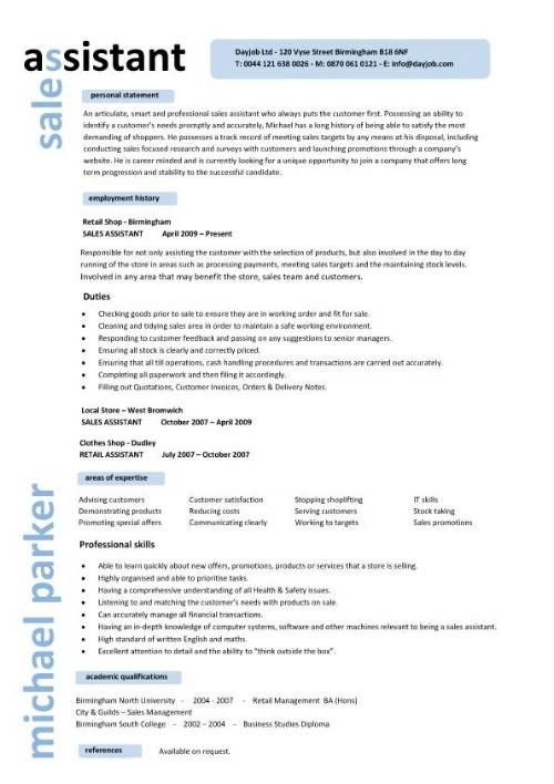 Sales Assistant CV Example, Shop, Store, Resume, Retail Curriculum Vitae,  Jobs  Retail Sample Resume