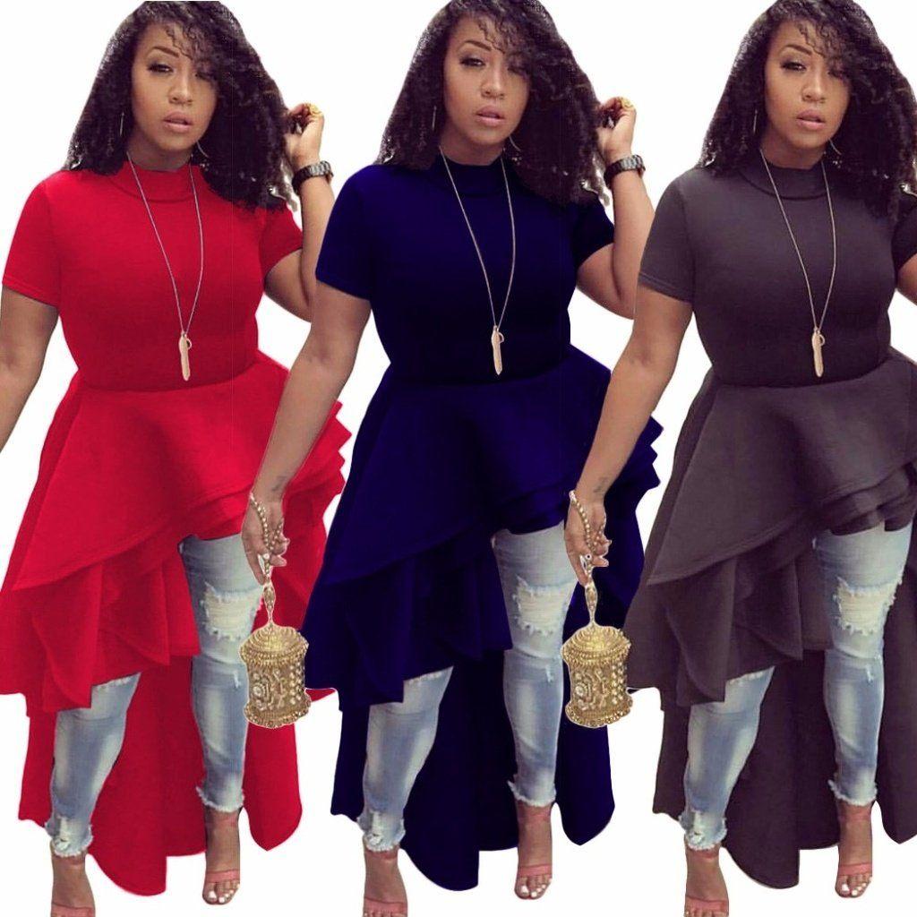 922252392e4 Fashion Autumn Winter Runway High Low Peplum Top Ruffle Dress Casual B –  kats closet1