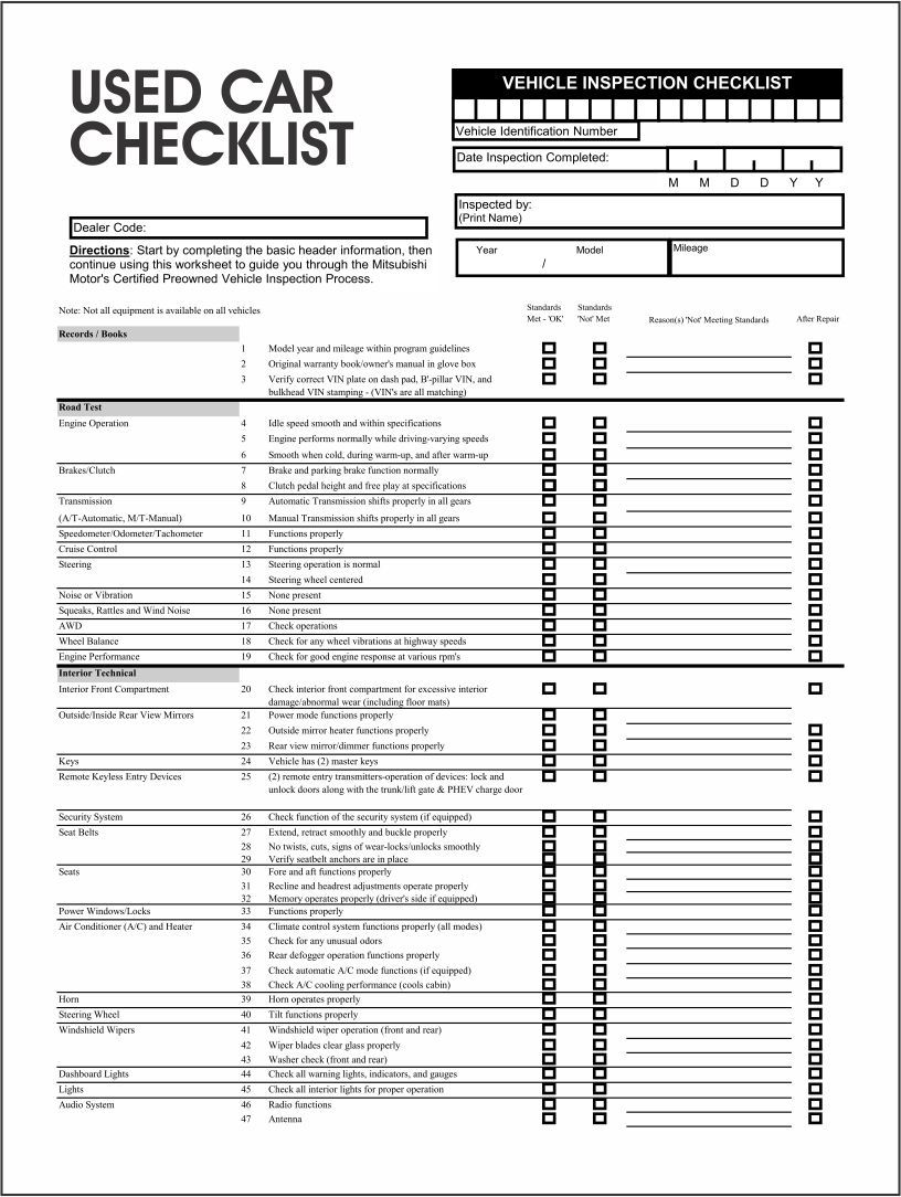 Browse Our Image Of Maintenance Inspection Checklist Template For Free Inspection Checklist Vehicle Inspection Car Maintenance