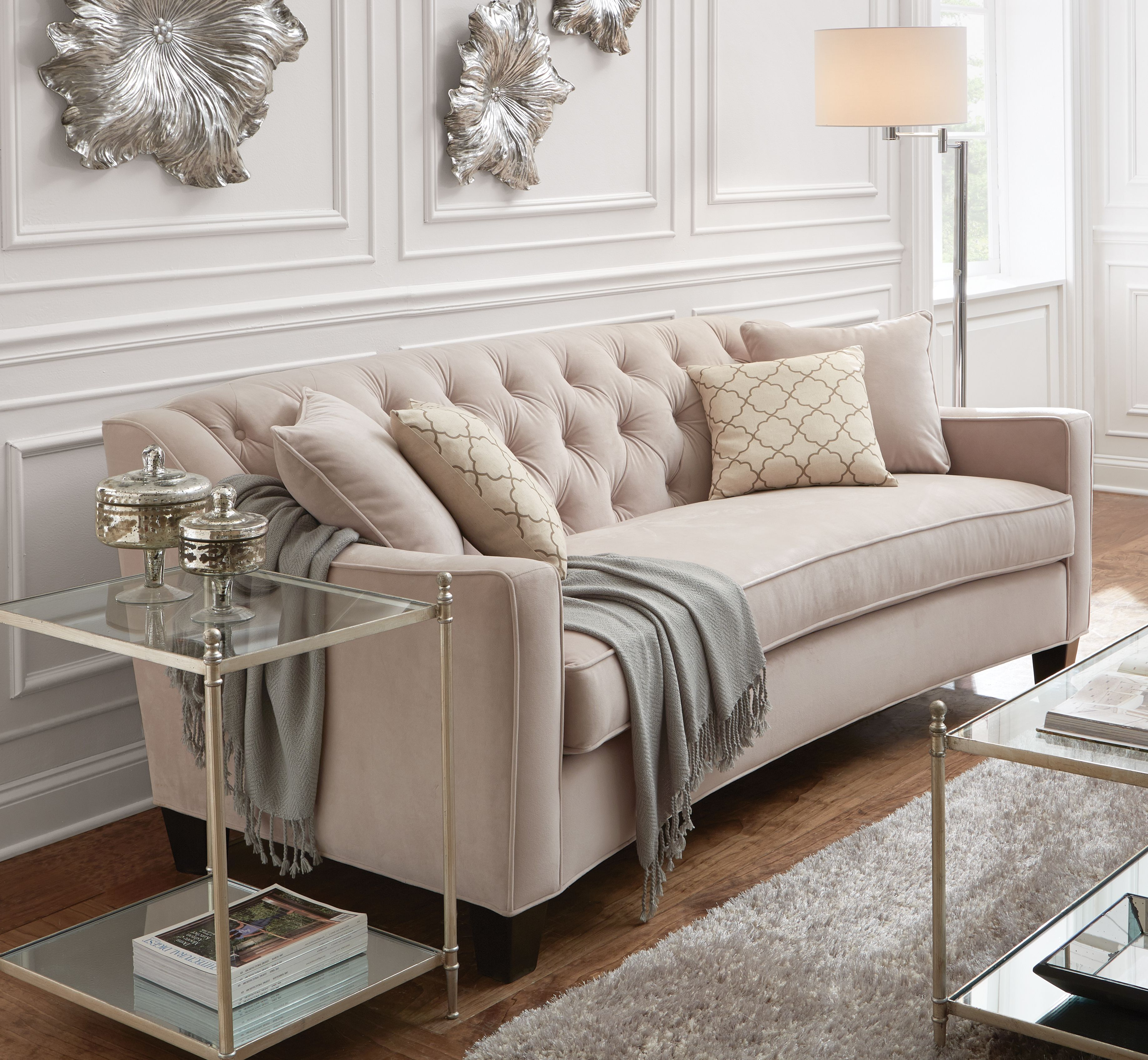 Elegant Traditional Living Room Furniture: Riemann 81.5 In. Pearl Polyester Sofa In 2019
