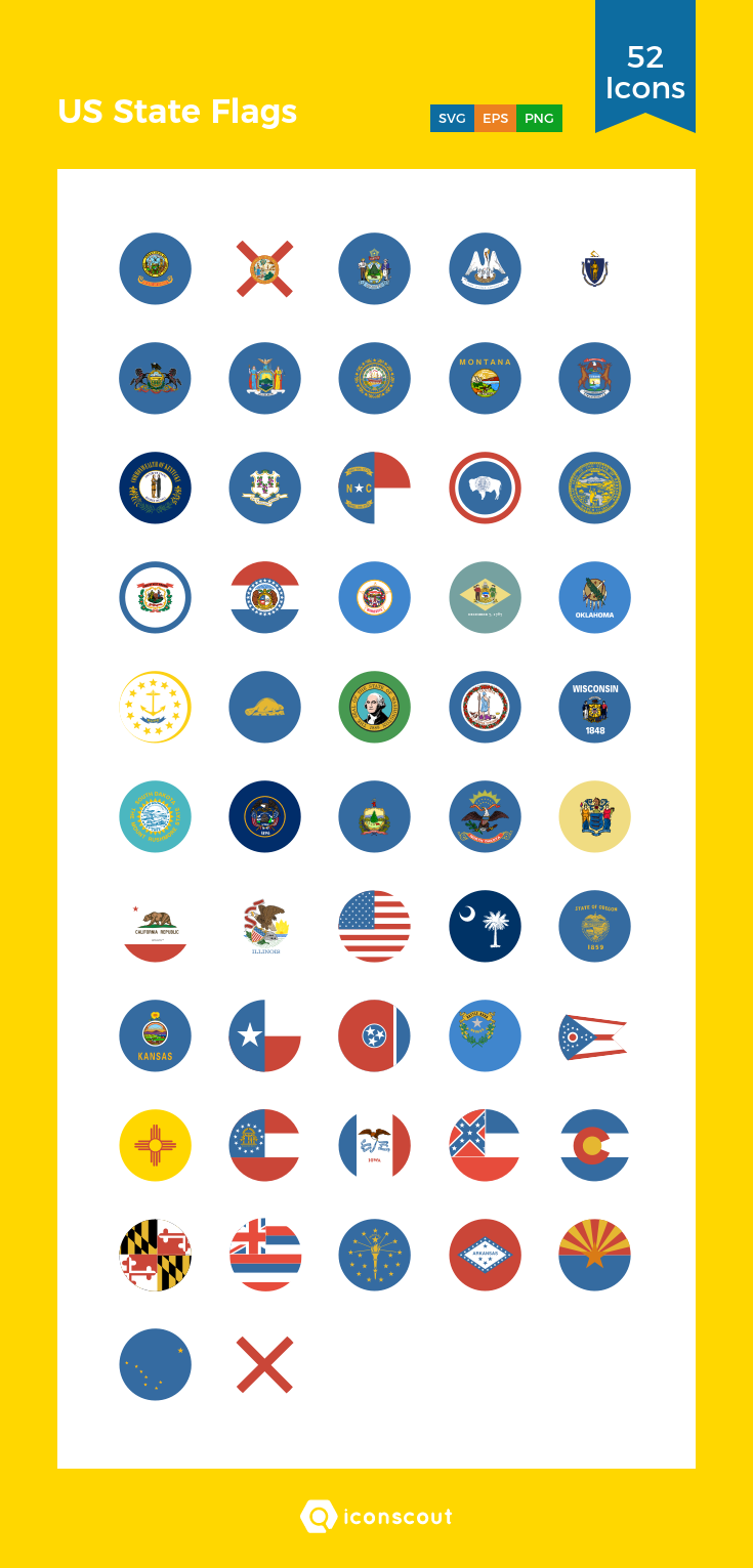 US State Flags Icon Pack 52 Flat Icons Us states flags