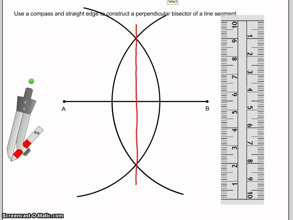 Drawing Lines In Maths : Construct a perpendicular bisector of line segment