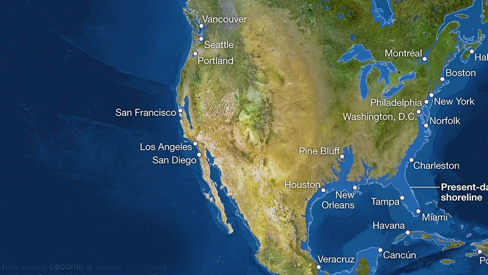 Map In Earth%0A How Earth u    s coastlines would look if all ice melted  bye Florida   Paragon  Monday