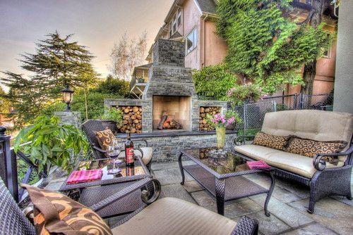 patio design fire place blue stone patio outdoor furniture rh pinterest com