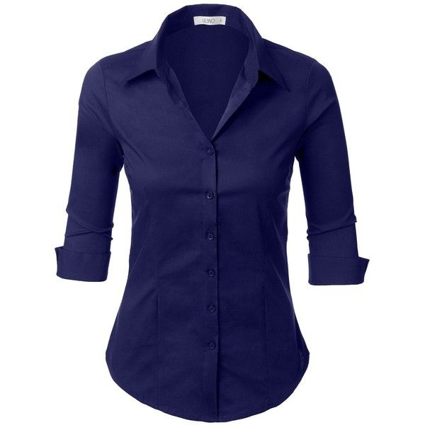 Le3no Womens Roll Up 3 4 Sleeve Button Down Shirt With