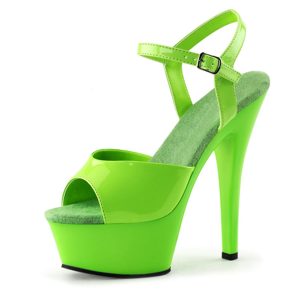 e5b0212eaef067 Womens Neon Green Heels UV Reactive Sandals Ankle Strap Platforms 6 Inch  Shoes Size  12. Womens sizing platform sandals. 6 Inch heel - 1 3 4 Inch  platform.