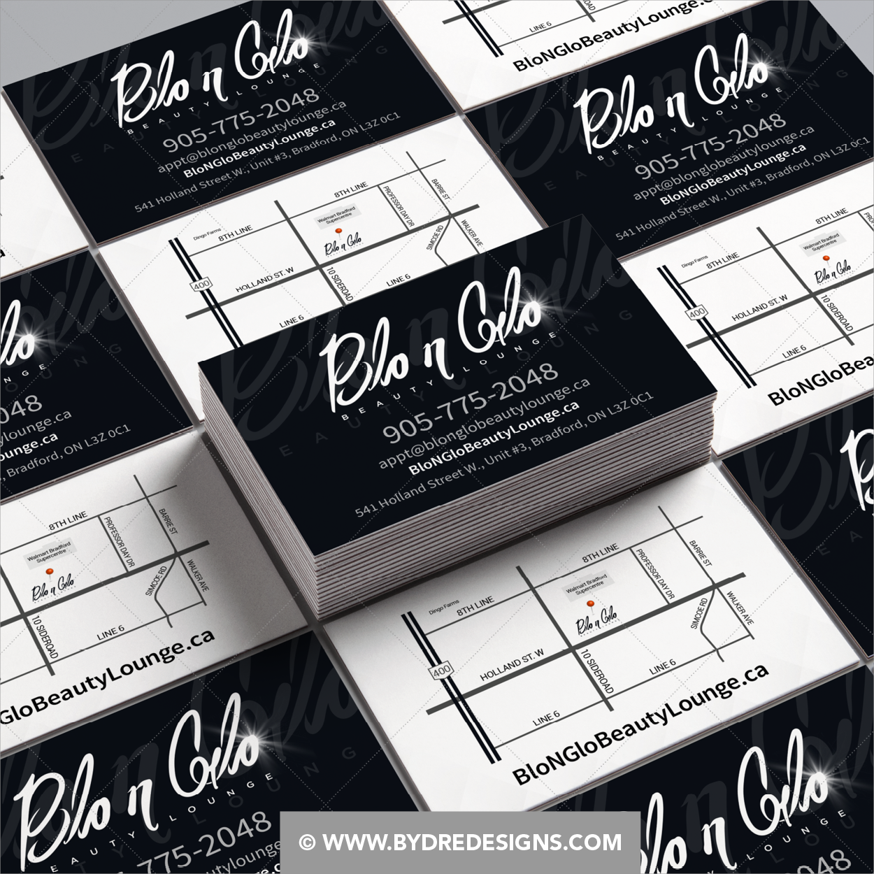 Business Card Design For Blo N Glo Beauty Lounge In Bradford On Classic Black And White Bus White Business Card Business Card Design Freelance Graphic Design