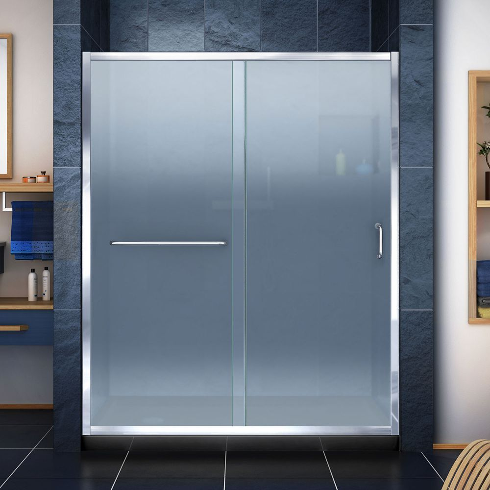 Infinity Z 30 Inch D X 60 Inch W Frosted Shower Door In Chrome And