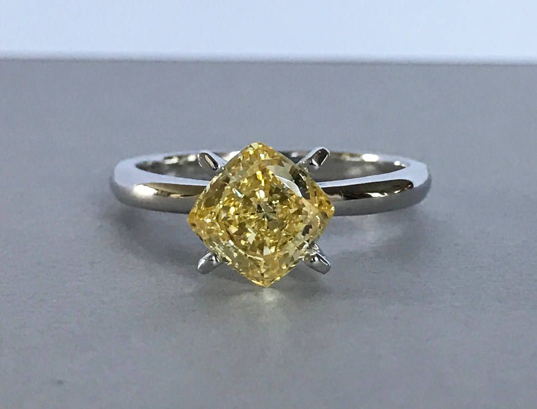 fancy cut engagement diamond in two gold ring tone cushion yellow product rings canary