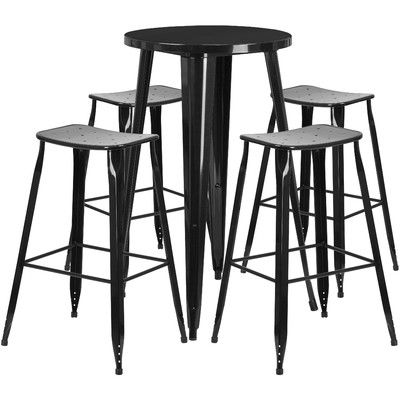 brighton 5 piece bar height dining set color black table size 41 rh pinterest com