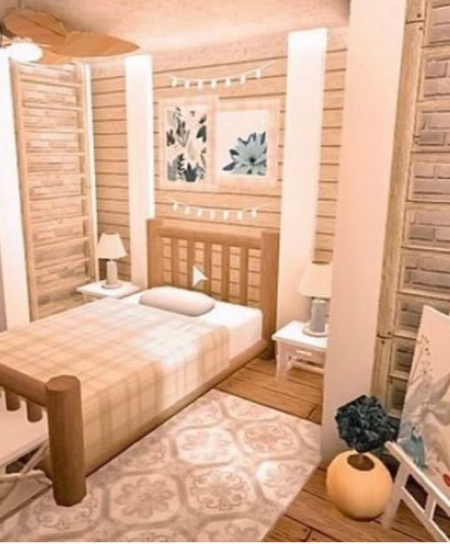 Aesthetic Bloxburg bedroom in 2020 | Tiny house bedroom ...