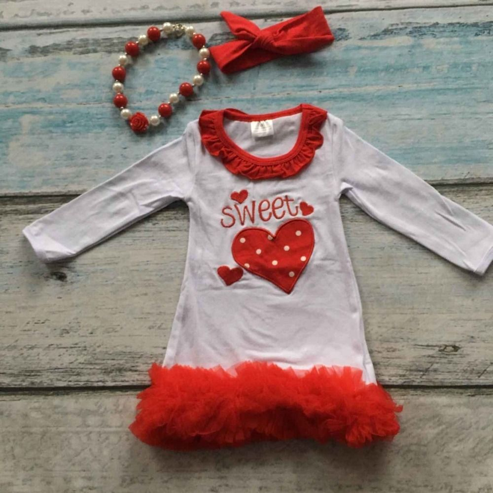Girls sweet heart dress kids valentines day party dress red ruffle