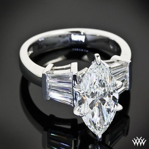 Marquise Cut Center CZ Stone 1 ct Sterling Silver Engagement CZ Ring w// 10x5mm