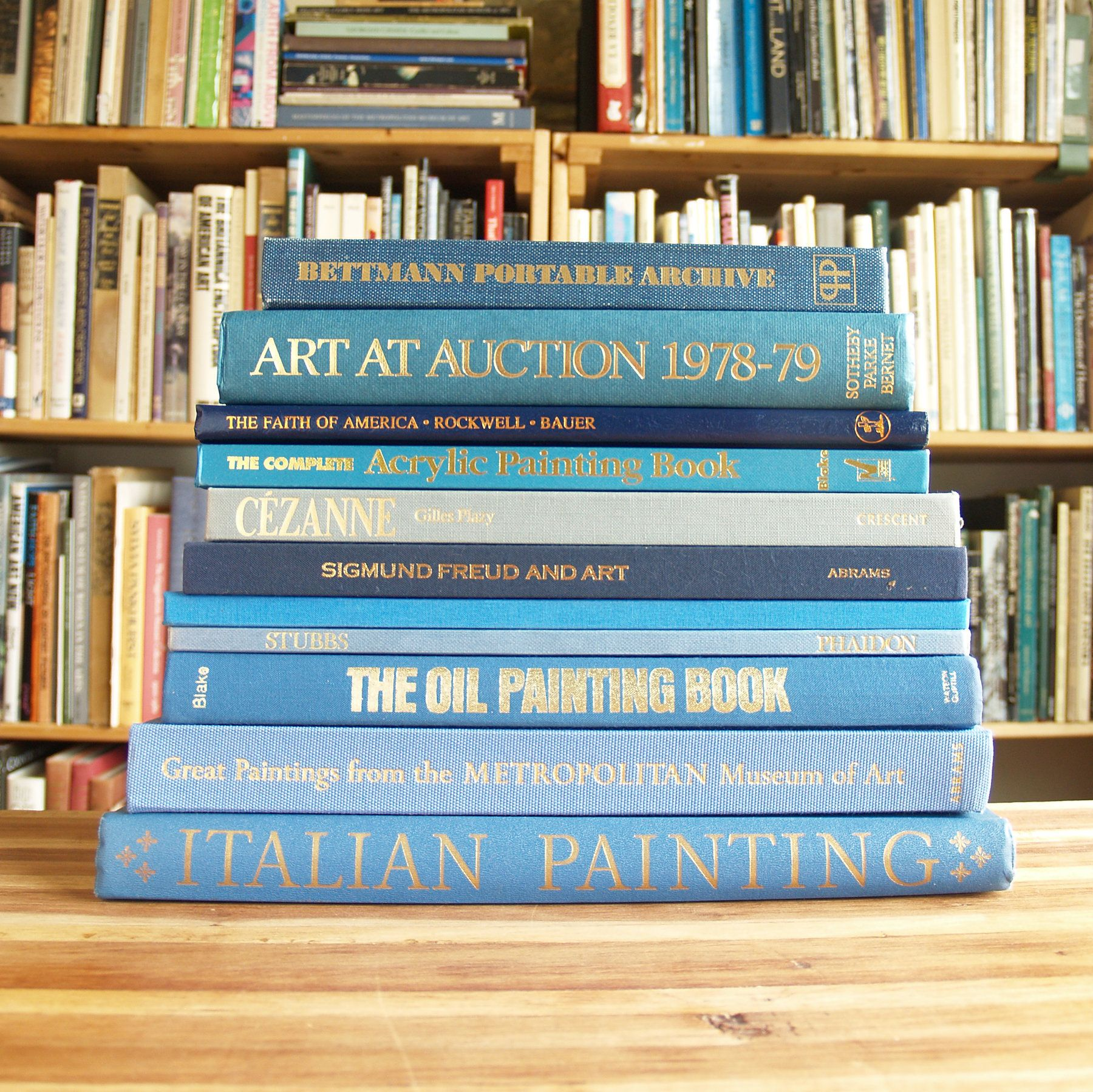 Collection Of 11 Large Coffee Table Books On Art In Blue Bindings