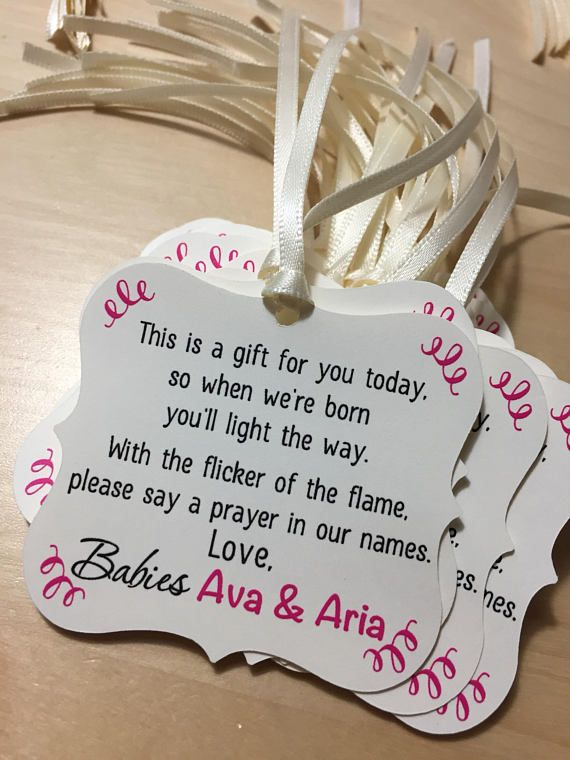 Candle Baby Shower Tags Winter Baby Shower Favor Tags Tea Light Baby
