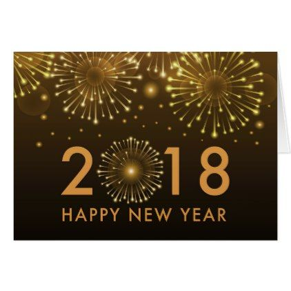 Happy New Year 2018 gold fireworks New Year card - k amp uuml che mit holz