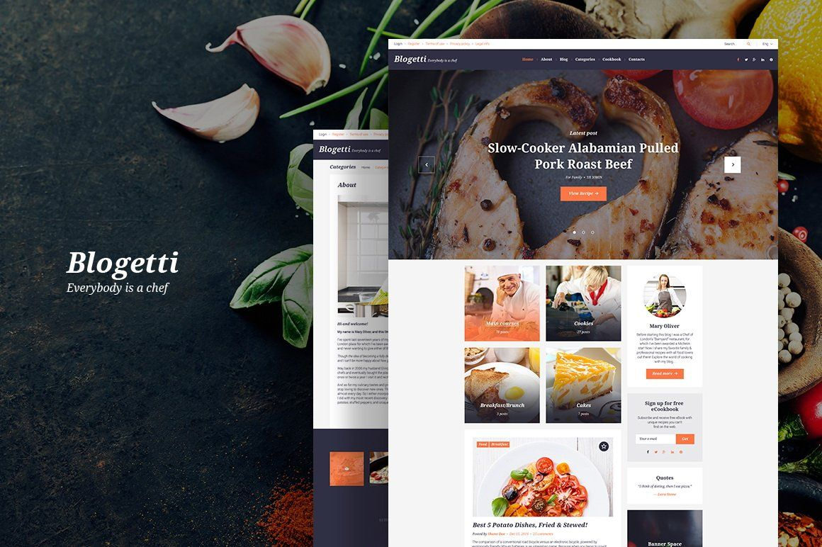 Blogetti Food Blog WordPress Theme (con imágenes)
