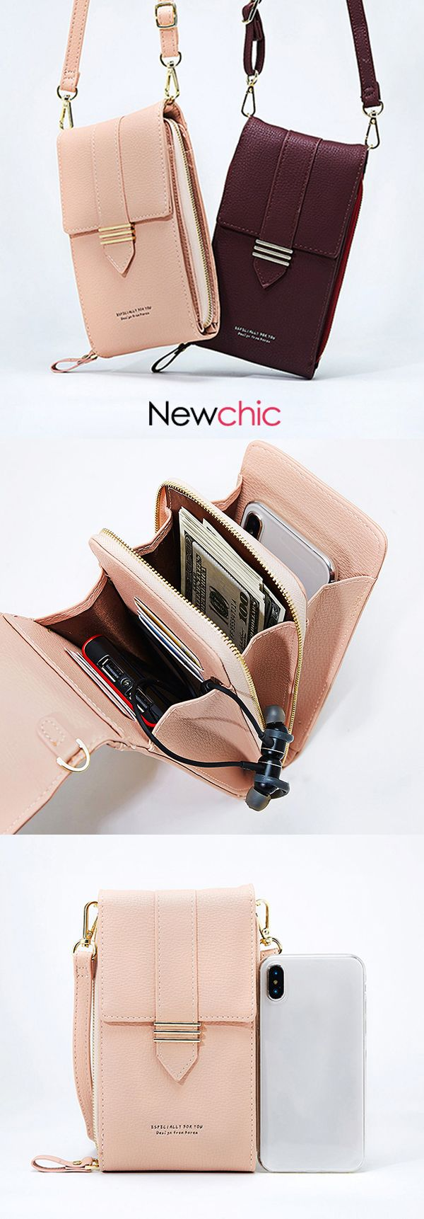 【US$ 22.39】Women Faux Leather Multi-pockets Shoulder Bag 5.5 Inches Crossbod…