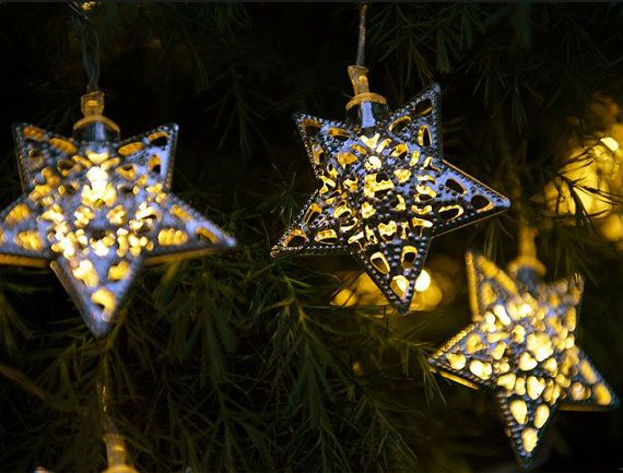 Good Moroccan Style Solar Lights (12 Metal Stars Or Hearts) For Projects/decor,
