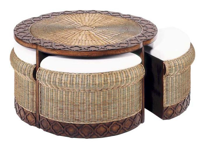 Round Rattan Coffee Table With Stools Storage Ottoman Coffee