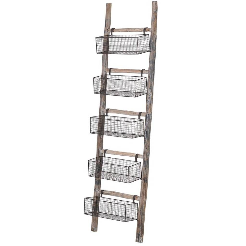 Wooden Wire Five Storage Baskets Ladder Wooden Ladder Ladder Storage Baskets On Wall