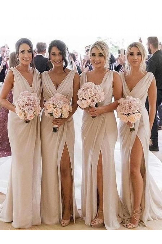 Simple Sheath Column V Neck Floor Length Bridesmaid Dresses 3010274 Champagne Bridesmaid Dresses Wedding Bridesmaid Dresses Long Bridesmaid Dresses [ 1500 x 1000 Pixel ]