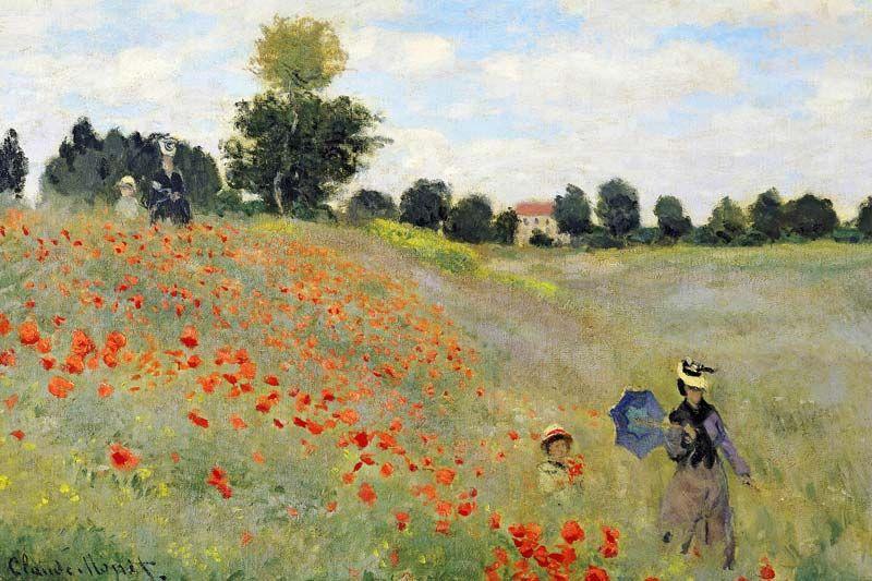 Monets Frau Mohnfeld Bei Argenteuil Mohnblumen Kunst Claude Monet Mohnfelder