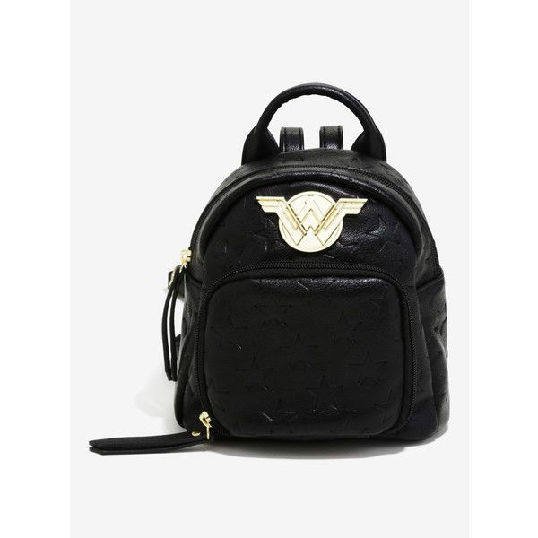 369b8093d925 Wonder Woman Black Mini Built-In Wallet Backpack (£25) ❤ liked on Polyvore  featuring bags