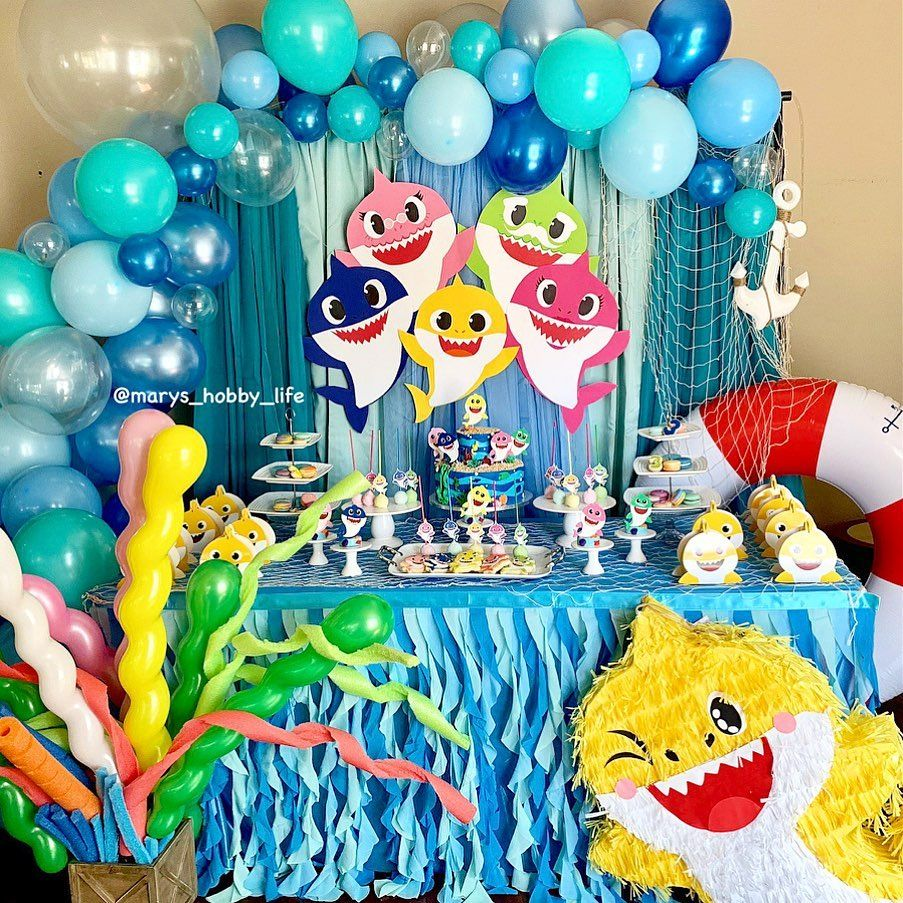 Diy Babyshark Theme Birthday Party My Son Is Obsess With Babyshark Yes The Song Was On Shark Themed Birthday Party Birthday Party Themes Shark Theme Birthday