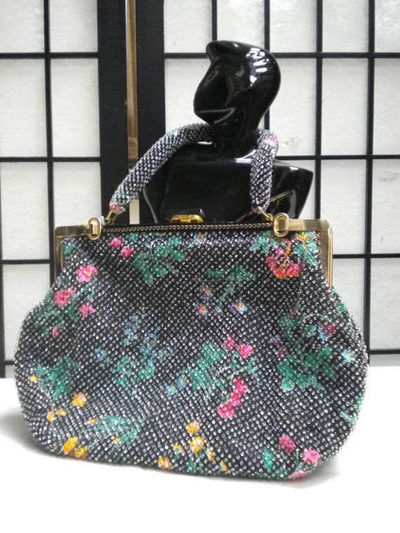VINTAGE EVENING BAG - Large, black and floral design, covered in miniature glass or plastic bubbles.
