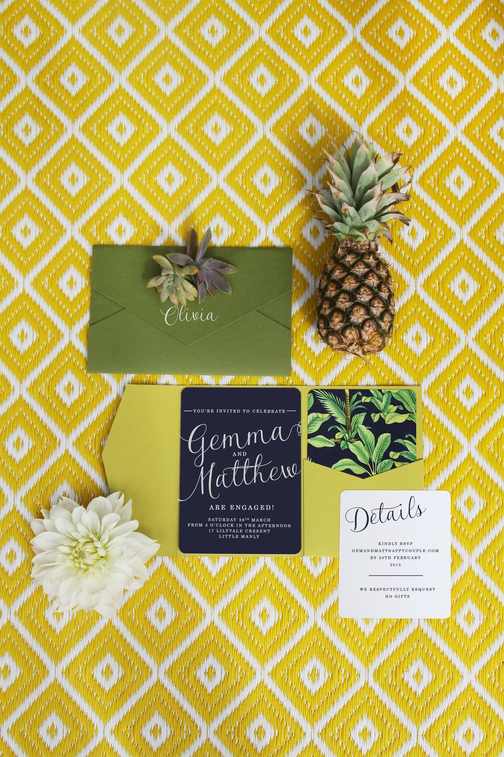 Tropical Island Luxe Engagement Party Invitations by THE STORY OF ...