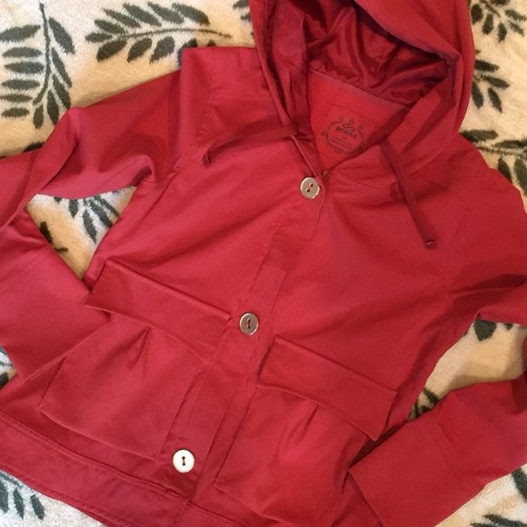prAna Jacket Prana jacket... Front zip with big buttons which features snap closure snap closure ... 2 front pockets with zip side closure and also  button top closure... Hooded with drawstring tie..color burnt orange prAna Jackets & Coats