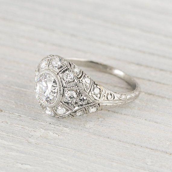 Vintage Art Deco .90 Carat Vintage Engagement Ring