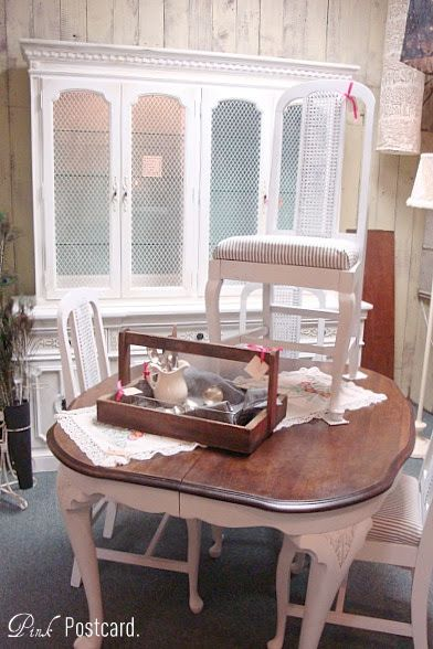 Vintage 1969 Thomasville Hutch And Antique Table All Done In Shabby Chic Finish