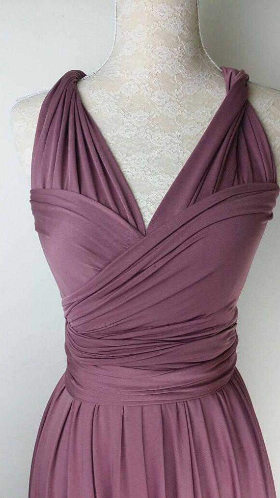 Bridesmaid Dress Infinity Dress Plum Straight Hem Knee Length Wrap ...
